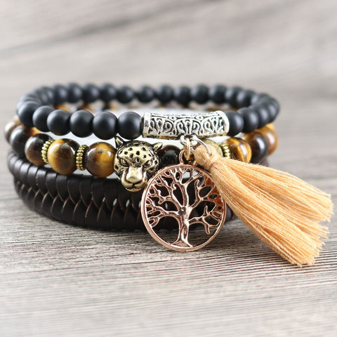 Tiger's Eye Stone Leather Bracelet