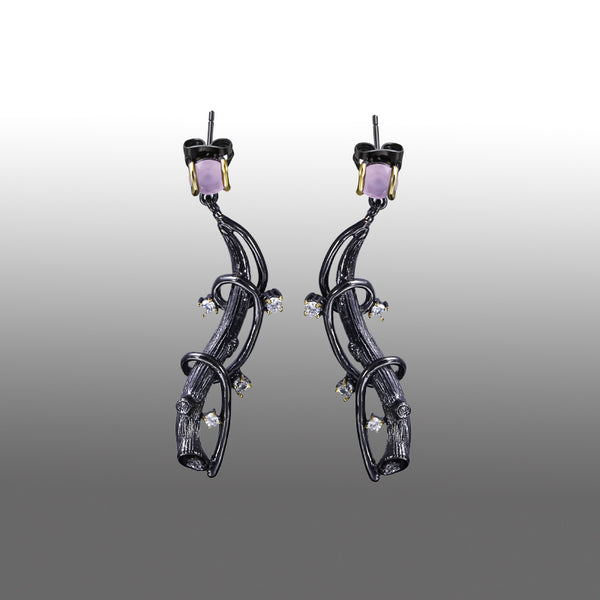 Tree Wave Lilac Purple Drop Earrings Black Gold Color with CZ - mytreestore