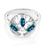 London Blue Topaz Ring in Sterling Silver 3 Stones with Prong Setting