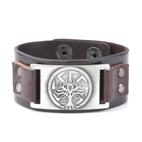 Men's Symbolic Stainless Steel and Leather Bracelet  MyTreeStore