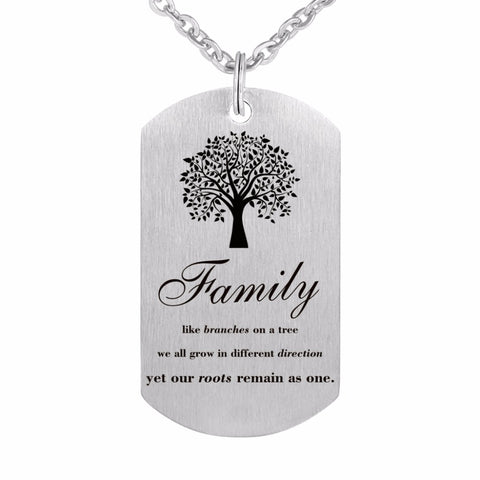Stainless Steel Dog Tag Pendant Necklace with Key Chain
