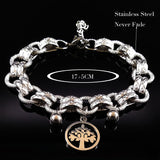 Textured Stainless Steel Bracelet with Tree Charm