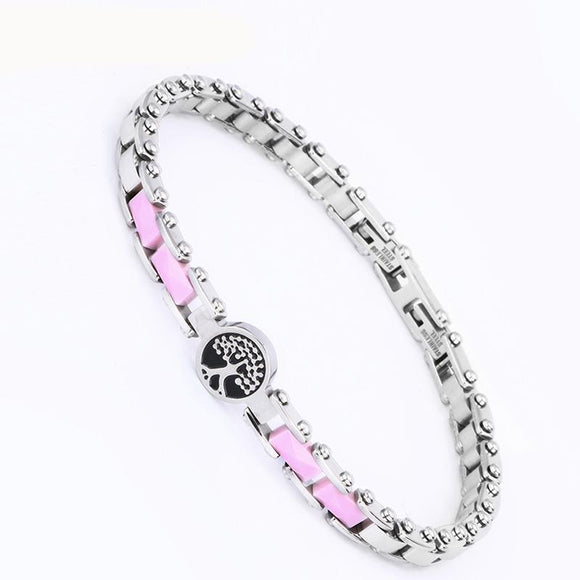 Ceramic and Stainless Steel Bicycle Chain Bracelet in Black Pink or White