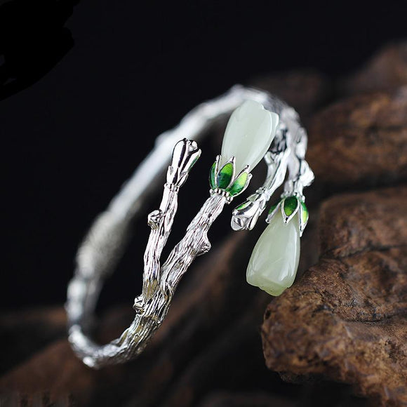 Real Jade Adjustable Bracelet in Sterling Silver Inspired By The Magnolia Tree