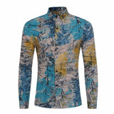 Abstract Tree Printed Long Sleeve Men's Shirt