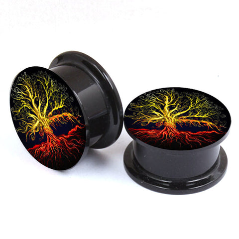 2pcs Unisex Acrylic Tree of Life ear Gauge - mytreestore