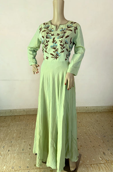PASTEL GREEN EMBROIDERED SILK KURTI