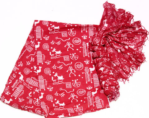 RED PRINTED COTTON FULL PATIALA