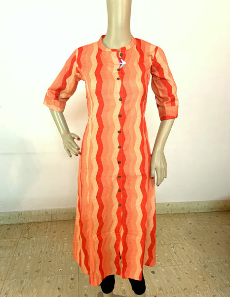 RED STRIPPED HANDLOOM COTTON KURTI