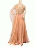 LIGHT PEACH NETTED ZARDOSI WORK STITCHED PARTY WEAR