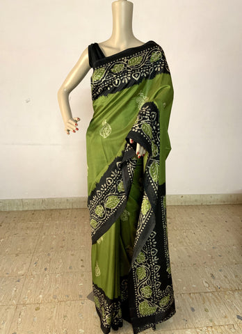 GREEN KASHMIRI SILK SAREE