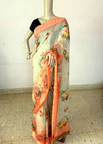 CREAM COLOR LINEN SILK SAREE