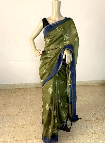 DARK GREEN LINEN SILK SAREE