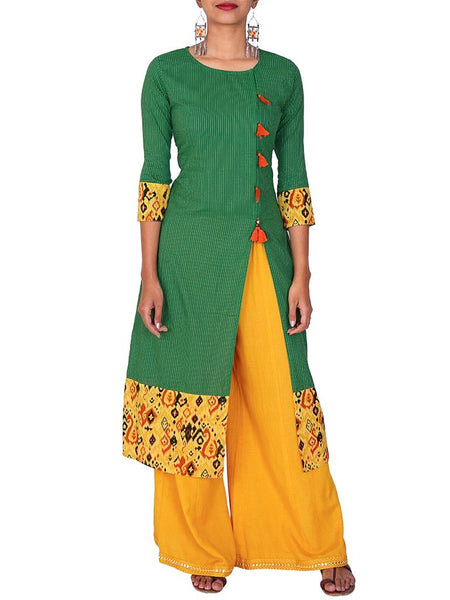 GREEN HANDLOOM COTTON KURTI