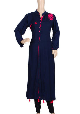 BLUE EMBROIDERED RAYON KURTI