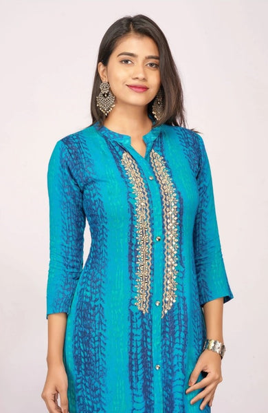 MIRROR EMBROIDERED SHIBORI PRINTED RAYON KURTI
