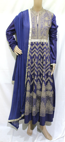 NAVY BLUE THREAD EMBROINDERED DESIGNER STITCHED PARTY WEAR