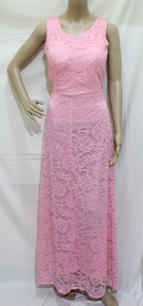 LIGHT PINK FULL LACE EMBROIDERED MAXI DRESSES
