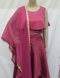 MAUVE PINK SATIN SILK DESIGNER STITCHED CAPE MODEL PARTY WEAR LEHANGA
