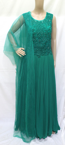 DEEP GREEN HEAVY  EMBROINDERED GEORGETTE DESIGNER STITCHED PARTY WEAR