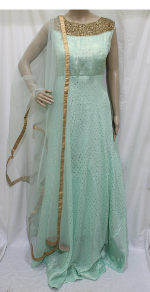 MINT GREEN SILK WITH KUNDAN NECK WORK STITCHED PARTY WEAR