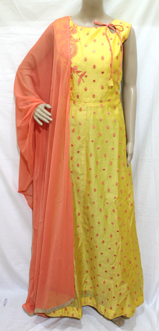YELLOW COTTON FULL MIRROR EMBROINDERED DESIGNER STITCHED PARTY WEAR