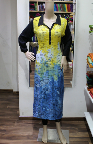 MULTICOLORED BAND COLLAR WITH PRINTED HEAVY RAYON  KURTI