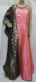 PALE PINK RAW SILK ANARKALI WITH PEARL EMBROIDERY WITH BANARASI DUPATTA STITCHED PARTY WEAR