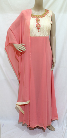 OFF WHITE & PINK  EMBROINDERED GEORGETTE DESIGNER STITCHED PARTY WEAR