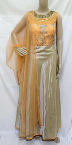 ORANGE & BEIGE WITH NECK BEAD EMBROINDERED DESIGNER STITCHED PARTY WEAR