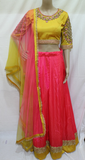 GOLDEN YELLOW WITH HEAVY ZARDOSI WORK TOP WITH SOFT SILK LACE BORDERED  SKIRT  STITCHED PARTY WEAR LEHANGA