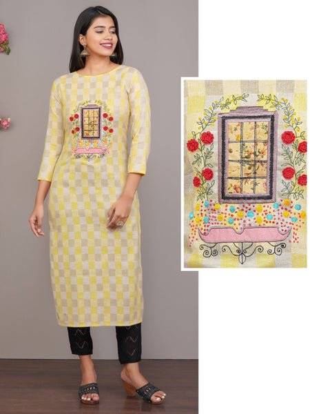 MUSTARD YELLOW CHECKED WITH EMBROIDERED CLASSY COTTON KURTI
