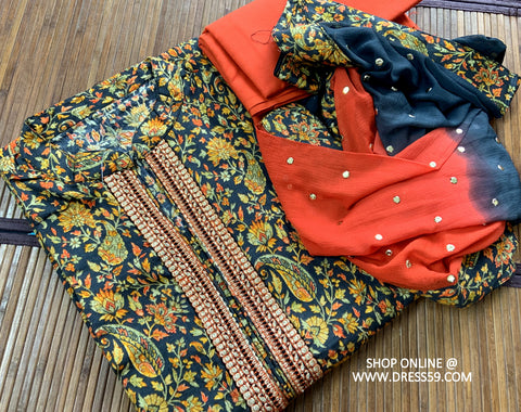 SOFT COTTON FLORAL PRINTED SEMISTITCHED SALWAR