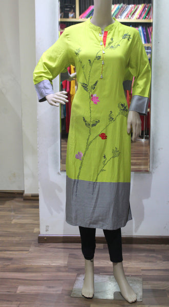 OLIVE GREEN EMBROIDERED CLASSY RAYON KURTI