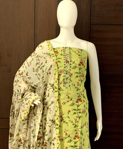 LIGHT GREEN COTTON FLORAL UNSTITCHED SALWAR