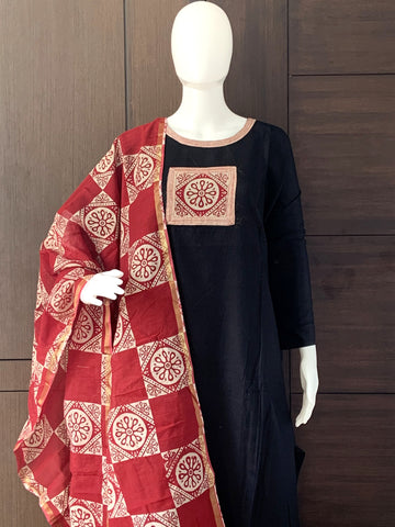 DARK GREY COTTON UNSTITCHED SALWAR