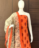 ORANGE COTTON UNSTITCHED SALWAR
