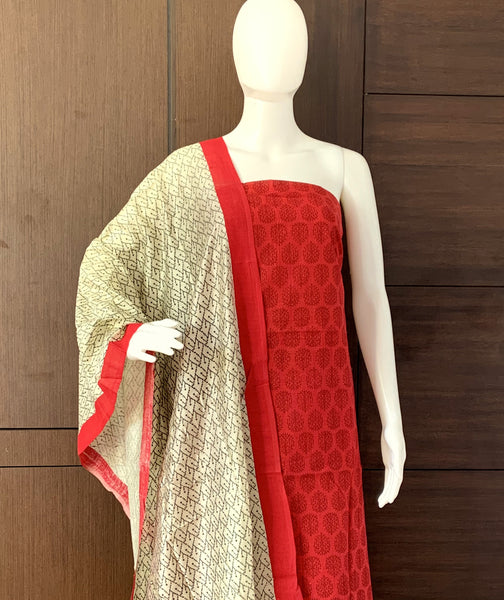 RED COTTON UNSTITCHED SALWAR