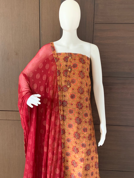 ABSTRACT PRINTED CHANDERI SILK UNSTITCHED SALWAR