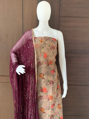 FLORAL PRINTED CHANDERI SILK UNSTITCHED SALWAR
