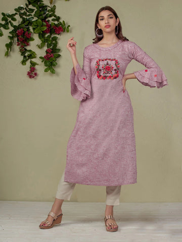 PURPLE HAND EMBROIDERED HANDLOOM COTTTON KURTI