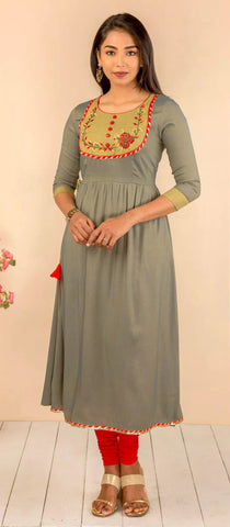 CEMENT COLOR HANDLOOM COTTON KURTI