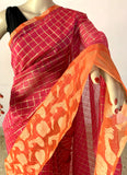 DARK PINK CHANDERI SILK SAREE