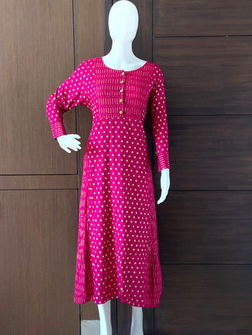 DARK PURPLE GOLD DOTTED RAYON PRINTED A-LINE KURTI