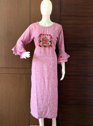 PURPLE COTTON KURTI WITH BELL SLEEVES