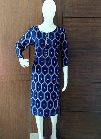 BLUE RAYON CASUAL WEAR PRINTED KURTI