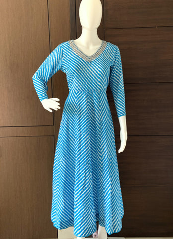 BLUE COTTON LEHARIYA PRINTED A-LINE KURTI