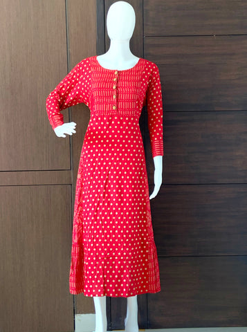 RED POLKA GOLD DOTTED RAYON PRINTED A-LINE KURTI