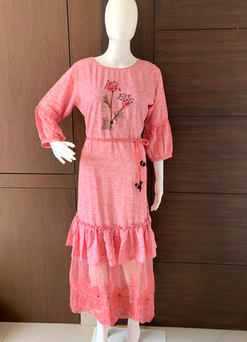PINK COTTON INDO WESTERN DESIGNER KURTI WITH KIMONO SLEEVES