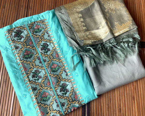 CYAN BLUE CHANDERI SILK UNSTITCHED SALWAR